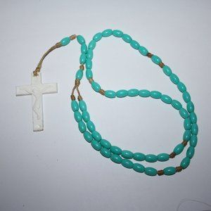 Vintage teal and white rosary necklace